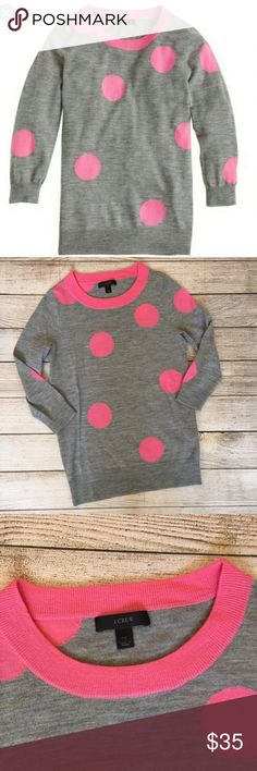 J. Crew Tippi Sweater Gray with pink polka dots. Three quarter sleeves. Merino wool. Excellent condition. 🚫NO TRADES/NO MODELING🚫 J. Crew Sweaters Crew & Scoop Necks