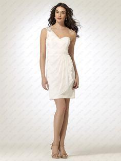 White Sheer Jersey Dress with Rhinestone Shoulder - http://www.vudress.com/