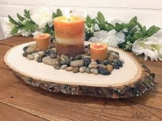 With a passion for all things rustic, I search for affordable home decor that compliments a country, farm-like lifestyle. Christmas Wood, Christmas Candles, Christmas Centerpieces, Christmas Decorations, Simple Christmas, Merry Christmas, Wood Slice Crafts, Wood Crafts, Bougie Rose