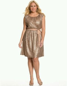 LANE BRYANT GOLD SEQUIN DRESS WITH REMOVABLE BELT - PLUS SIZE 18/20 in Clothing, Shoes & Accessories, Women's Clothing, Dresses | eBay