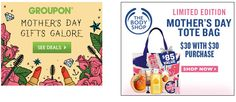 Mothers Day s Gifts Mother s Day is fast approaching, and many of you might be last minute shoppers or still searching for that perfect gift . Worry not we have composed a list of best places to shop for Mother s Day gifts. Packages and Deals If you re looking to get a great package and deal for your lovely mother, then Body Shop or Groupon might be a way to go. Body Shop has all your skin care needs that leave you feeling and smelling great. If