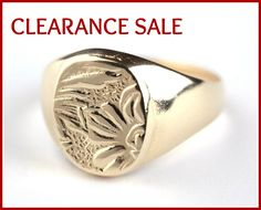CLEARANCE SALE, Statement Ring, Pinky Ring, Spring Jewelry, Decorated Ring, Flowers Signet Ring, Engraved Ring, 14K Gold plated, Gift Idea