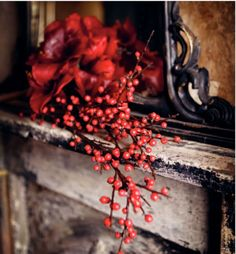 red, berries, nice holiday touch for a cottage