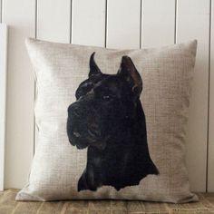 "18""x18"" Black Cane Corso Burlap Decorative Pillow Case Cushion Cover Protector Slip"