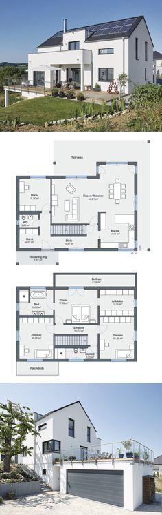 Modernes Einfamilienhaus mit Einliegerwohnung, Garage & Satteldach Architektur in Hanglage - Haus bauen Grundriss Fertighaus Ideen von WeberHaus - HausbauDirekt.de