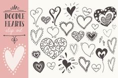 Doodle Hearts Clip Art by The Pen & Brush on Creative Market