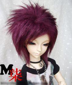 "1/4 bjd msd doll 7-8"" inches purple color fur wig super dollfie luts"