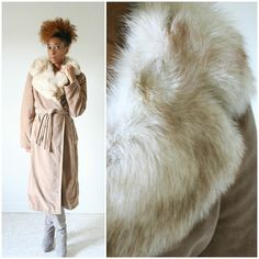 vintage 70s FOX COLLAR tan wrap swing coat size XL/XXL by PasseNouveauVintage, $130.00