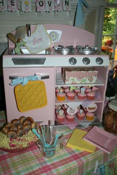 """Bun in the Oven""  Baby Girl Shower!  A pink vintage toy oven replaces the traditional desert table!  Cute!"