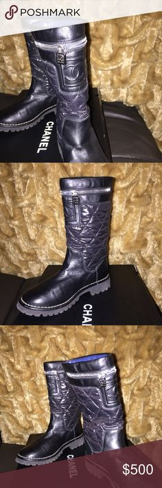 Chanel quilted boots Black Chanel Boots.  CC on front and CC emblem on zipper.  Size 6 CHANEL Shoes Combat & Moto Boots