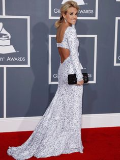 Carrie Underwood working the back of the gown pose, boom!