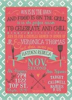 Couples Baby Shower Invitation  BBQ, Modern, Girl Or Boy, DIgital On Etsy