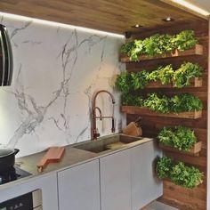 Modern Kitchen Cabinets, Kitchen Interior, Design Kitchen, Kitchen Walls, Kitchen Decor, Kitchen Garden Ideas, Kitchen Modern, Diy Cabinets, Interior Modern