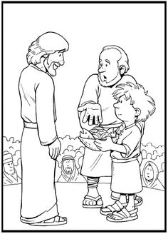 Jesus Feeds The 5000 Coloring Page