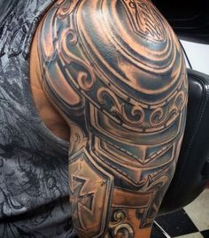 Top 90 Best Armor Tattoo Designs For Men - Walking Fortress Armor Sleeve Tattoo, Armor Of God Tattoo, Shoulder Armor Tattoo, Sleeve Tattoos, Norse Tattoo, Tribal Arm Tattoos, Arm Tattoos For Guys, Body Art Tattoos, 3d Tattoos