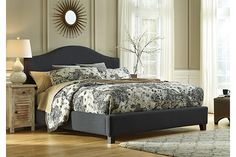 Dark Gray Kasidon Queen Camelback Bed View 1