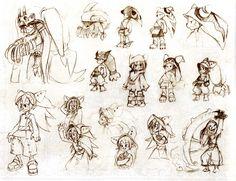Croquis de recherche sur Yugo (Page 114 du Tome 1 de l'art book de Wakfu)