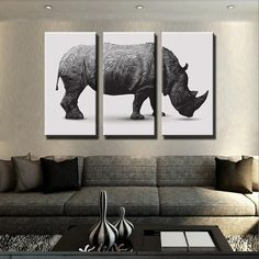Rhino Canvas Black White Animal Kingdom Panorama Wall Art Picture Home Decor