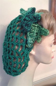 Green Poison Ivy 1940's wartime snood vintage by RavenMaddBoutique