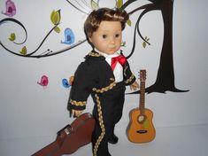 Mariachi charro traje suit black gabardine gold trim fits 18 in like American Girl boy doll Folklorico Dresses, Mariachi Suit, Charro Suit, All American Boy, Boy Doll, Black Boots, Dress Up, Handsome, Dolls