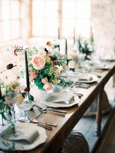 Modern Vintage Indoor Tablescape | Rachel Solomon Photography on @CVBrides via @aislesociety
