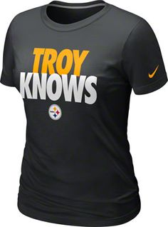 Pittsburgh Steelers Nike Women's Troy Polamalu Knows Black T-Shirt - Official Online Store On my Christmas list. But Football, Pittsburgh Steelers Football, Pittsburgh Sports, Best Football Team, Football Baby, Football Season, Steelers Gear, Steelers Stuff, Troy Polamalu
