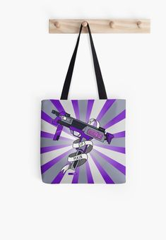 As a DPS Main, you need a totebag for carrying things like all the Xbox games you just purchased! This dynamic purple and grey design featuring a gun with a sticker saying GG EZ, shows that you're the best at what you do, sniping enemies in video games. Great gift for gamers. Submachine Gun, Xbox Games, Gamer Gifts, You're Awesome, Enemies, Game Art, Maine, Video Games, Great Gifts