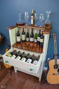Old Chest Of Drawers To Wine Bar ................. #DIY #dresser #winebar #bar #wood #paint #chalkpaint #stain #furniturehardware #furniture #decor #crafts