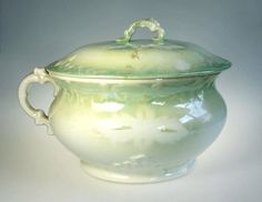 Crown Potteries Covered Chamber Pot Antique by WeStartedWithAMouse