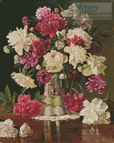 Peonies - Cross Stitch Chart - Click Image to Close