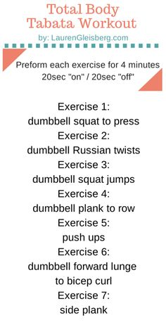 Total Body Tabata Workout (Only Requires Dumbbells) (via Bloglovin.com )