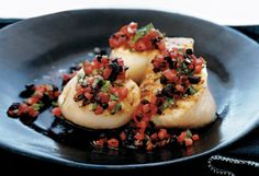Grilled Sea Scallops with Tomato-Black Olive Vinaigrette and Potatoes