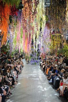 floral display at dior show