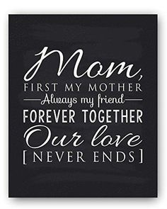 "Mom Poem Chalkboard Print by Ocean Drop Photography (8x10"") - Thoughtful Gift for Mom and the Perfect Mother's Day Gift - Beautiful Black and White Typography Artwork - Ready to Hang Hanger Included"