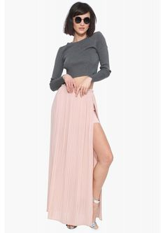 Pleated Maxi Skirt in Cream | Necessary Clothing