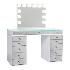 SlayStation® Pro Tabletop + Vanity Mirror + 5 Drawer Units Bundle (Pre-order Bright White Now. Expected ship date: June - Impressions Vanity Co. Beauty Room Decor, Teen Room Decor, Room Ideas Bedroom, Dream Bedroom, Bedroom Decor, Tabletop Vanity Mirror, Mirror Drawers, Mirrored Vanity, Vanity Tables