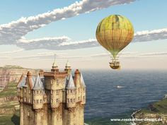 Scottish castle and fantasy hot air balloon by Michael Rosskothen