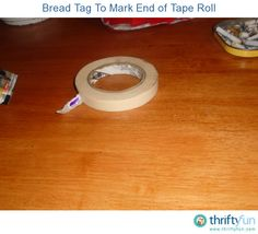 Have you ever spent too much time looking for the end of your tape roll, very frustrating! Just break a bread tag in half or use a paper clip and attach on to the end of the tape roll, no more hassles.