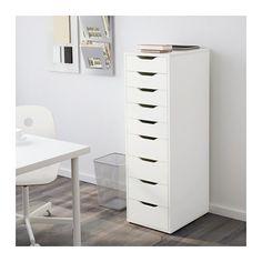 ALEX Laatikosto, 9 laatikkoa IKEA Korkea lipasto, jossa on paljon laatikoita, tarjoaa runsaasti säilytystilaa mutta vie vain vähän lattiapinta-alaa.