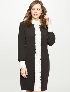 Contrast Ruffle Placket Dress from eloquii.com
