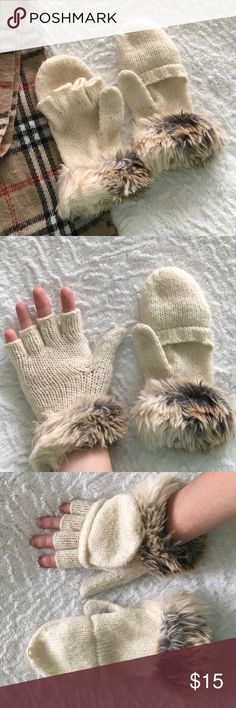 Convertible Furry Mittens Knit mittens from American Eagle with faux fur accent. They're convertible to fingerless so it's easy to use your phone if needed! They have been worn. There are no tears but some staining on the thumbs (see 4th photo). Body: 81% acrylic, 10% wool, 9% alpaca. Faux fur: 77% acrylic, 20% polyester, 3% modacrylic.  🛍 Bundle & Save: 20% off 2+ items!  🙅🏻 No trades / selling off Posh.  ✔️ Reasonable offers always welcome. American Eagle Outfitters Accessories Gloves…