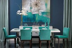 Beautiful Turquoise Room Decoration Ideas for Inspiration Modern Interior Design and Decor. more search: turquoise room ideas teenage, turquoise bedroom ideas, turquoise living room ideas, turquoise room decorating ideas. Bright Dining Rooms, Dining Room Blue, Dining Room Design, Navy Blue Dining Chairs, Design Room, Home Design, Home Interior Design, Design Ideas, Modern Interior