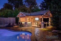 50 Swimming Pool House, Cabana and Pergola Ideas (Photos) Pool Gazebo, Backyard Pavilion, Pergola Patio, Pergola Ideas, Pergola Carport, Corner Pergola, Cheap Pergola, Pergola Plans, Patio Ideas
