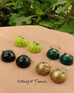Terracotta Jewellery Making, Terracotta Jewellery Designs, Terracotta Earrings, Fancy Earrings, Clay Earrings, Polymer Clay Pendant, Polymer Clay Jewelry, Teracotta Jewellery, Silk Thread Earrings