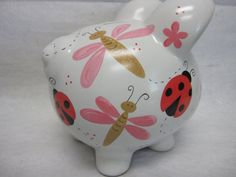 Personalized Piggy Bank Ladybugs and Dragonflies Personalized Piggy Bank, Piggy Banks, Hand Built Pottery, Baby Shower, Plate Art, Pigs, Ladybug, Biscuit, I Shop