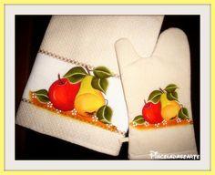 Pintura em Tecido - Conjunto de Cozinha, Pano e Pega    *** Aceito Encomendas www.pinceladasearte.blogspot.pt