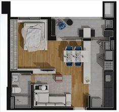 apartamento planta tipo 46,51m2 opcao 2