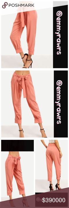 $39 Coming soon • comment to reserve• Coral Pants Looking to add a pop of color to your wardrobe this season? Then these pants are definitely meant for you! Features side pockets, tie drawstring belt, and buttons on the bottom of the pants. Material: 100% polyester. •• Small, Medium, and large available •• Ready to ship •• Pants