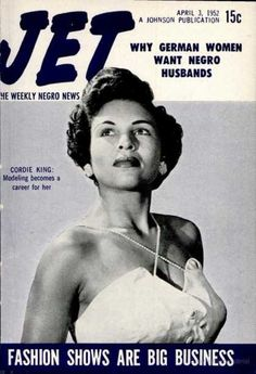 Model Cordie King on a 1952 cover of Jet magazine.