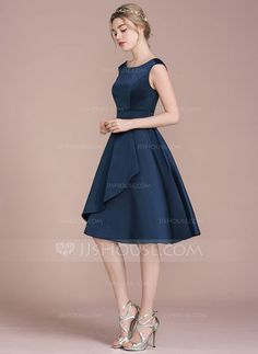A-Line/Princess Scoop Neck Knee-Length Cascading Ruffles Zipper Up Cap Straps Sleeveless No Dark Navy Spring Summer Fall Winter General Plus Satin Height:5.7ft Bust:33in Waist:24in Hips:34in US 2 / UK 6 / EU 32 Bridesmaid Dress